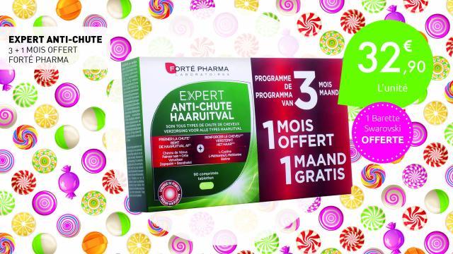 32,90€ l'expert anti-chute 3+1 mois offert de Forte pharma + 1 barette swarovski